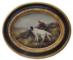 DOGS - Italian Animalia oil on canvas oval  painting, Mark Majer