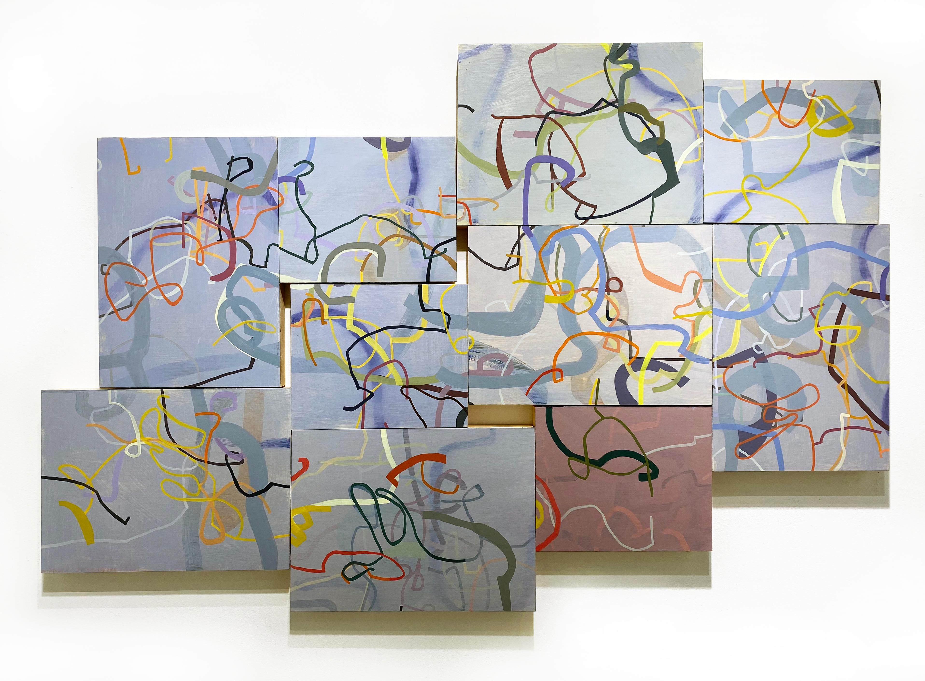 """""""A Celluloid Dickey, a Razor and Two 8-Balls,"""" modernist abstract painting"""
