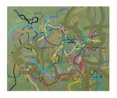 """Centuries of Dandy Nannies"" Abstract Painting (green)"