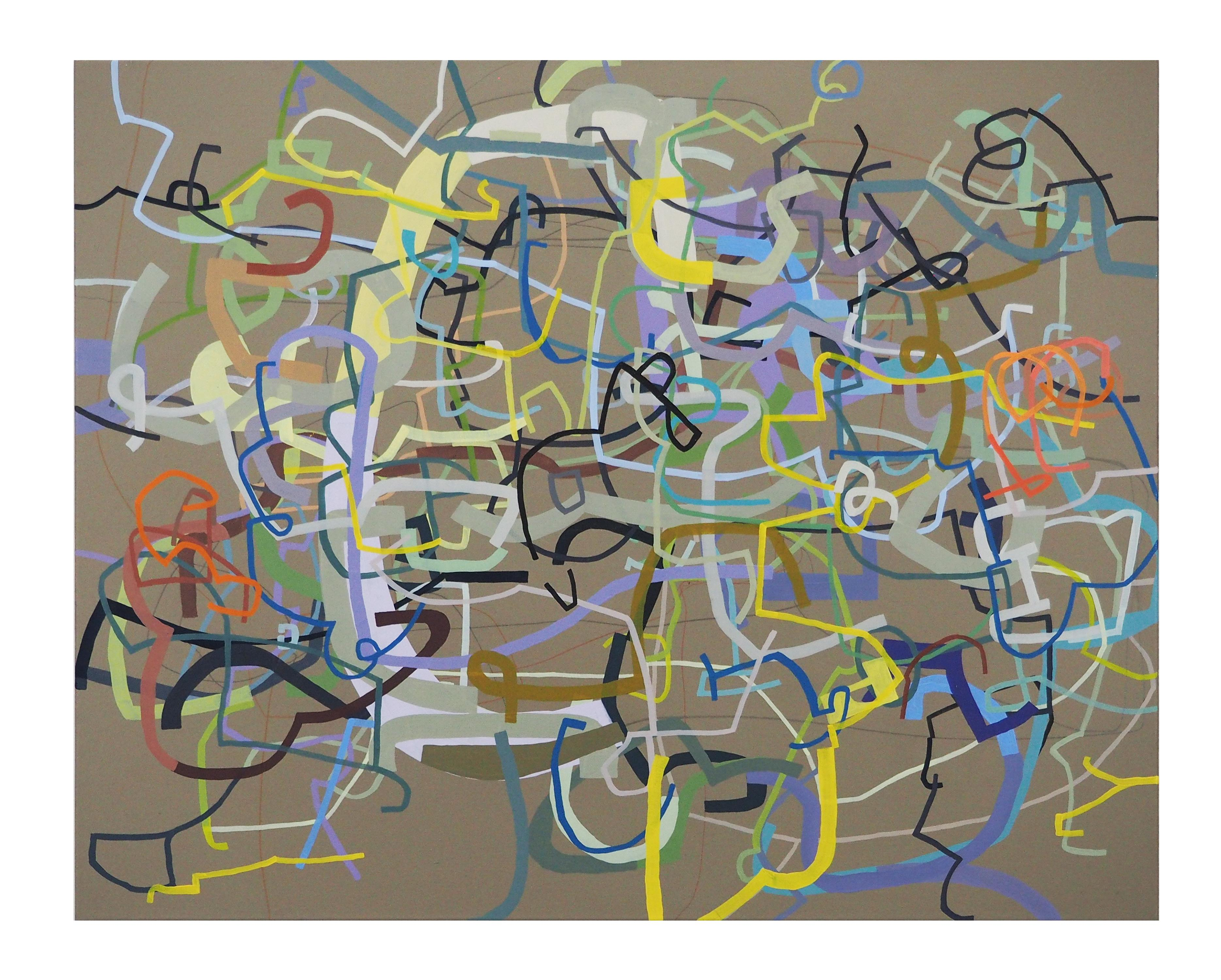 Fluency and Clank, Linear Abstract Oil Painting