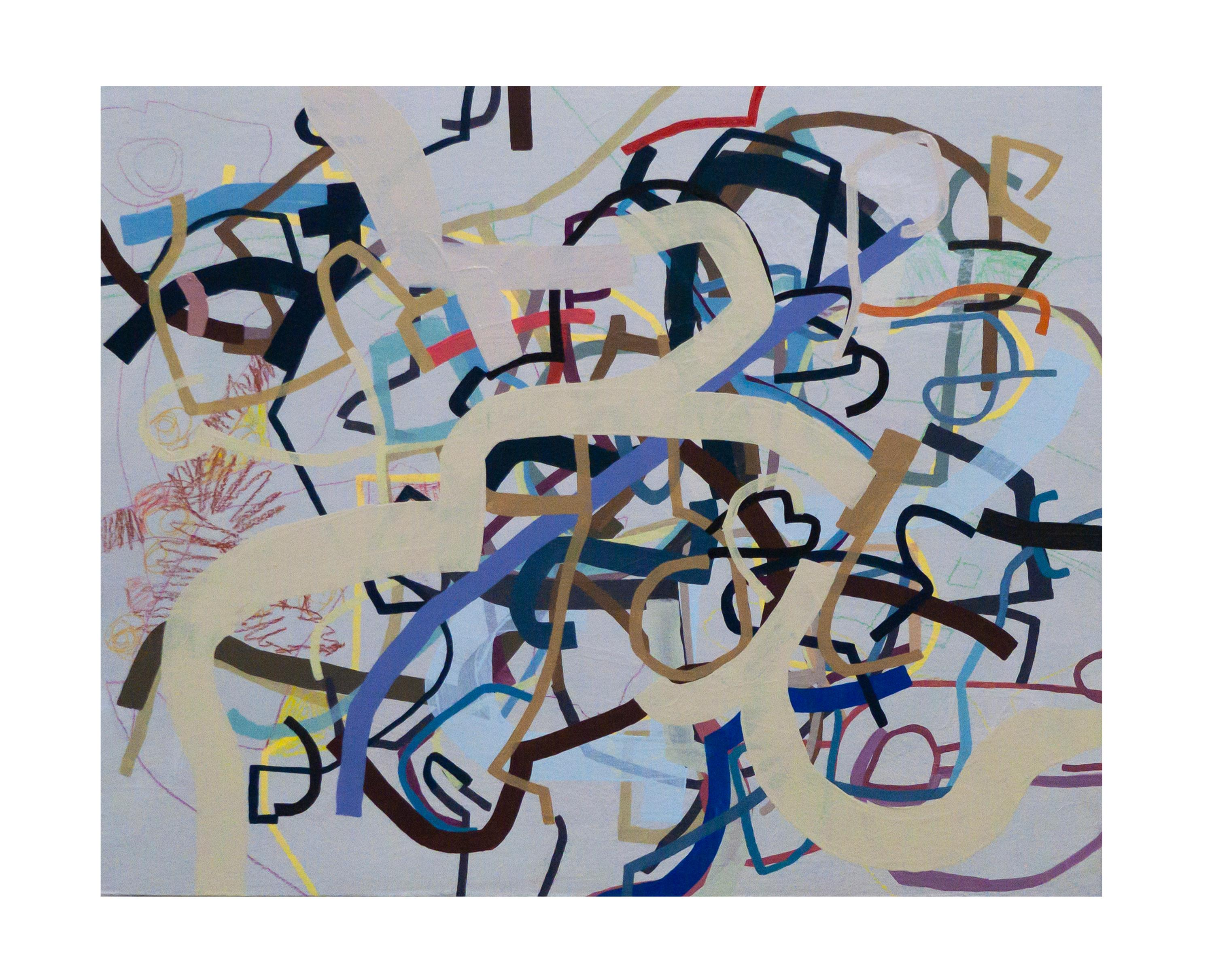 """""""Six Strings and Four Fingers"""" Linear Abstract Painting"""