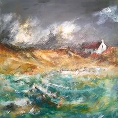 Bothy, Isle of Barra - Seascape Painting by Mark McCallum