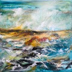 Sangmore Beach Durness - Contemporary Seascape Painting by Mark McCallum
