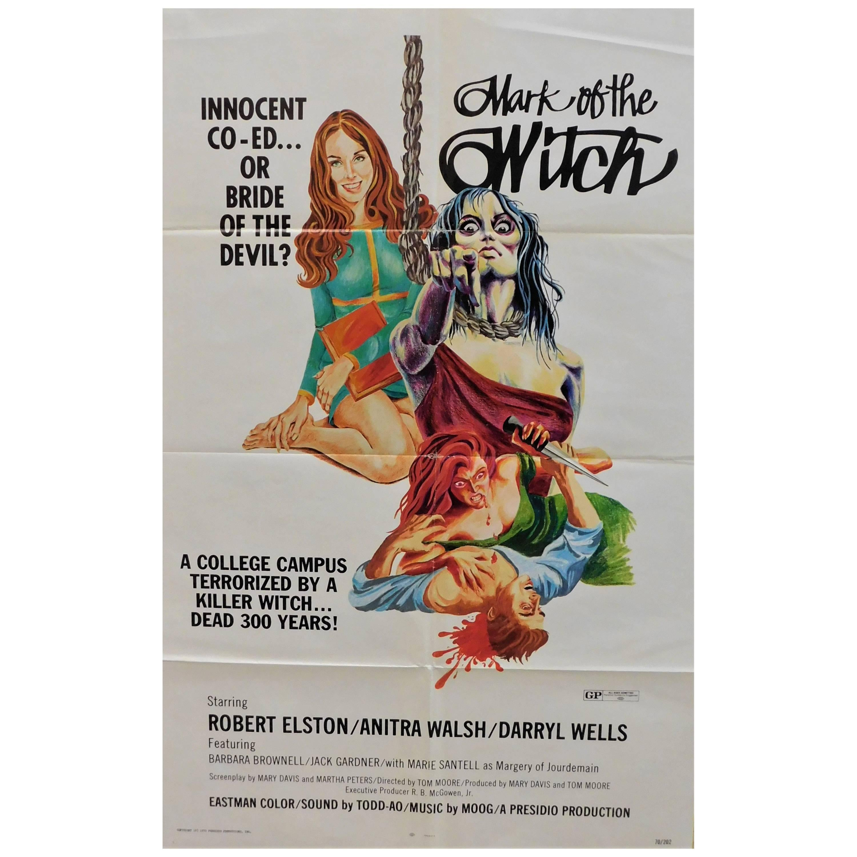 """""""Mark of the Witch"""" 1970 Original Horror Movie Poster"""