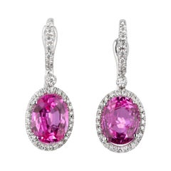 Mark Patterson 3.50 Carat Pink Sapphire Diamond Gold Halo Dangle Earrings