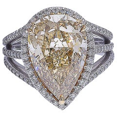 Mark Patterson GIA Certified Fancy Color Yellow Pear Shape Diamond Platinum Ring