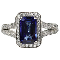 Mark Patterson Sapphire and Diamond Platinum Ring