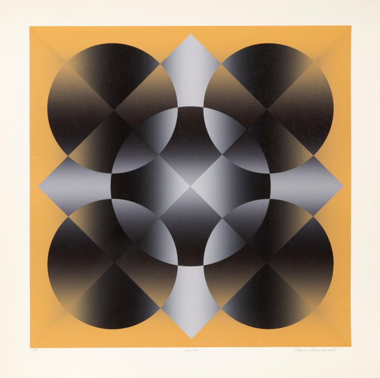 Artist: Mark Rowland, American (1953 - ) Title: Motive Year: circa 1980 Medium: Screenprint, signed and numbered in pencil Edition: VIII Image Size: 25 x 25 inches Size: 30 x 30 in. (76.2 x 76.2 cm)