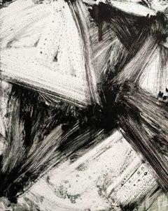 """July Series #13"", painterly abstract monoprint, black, grey green."