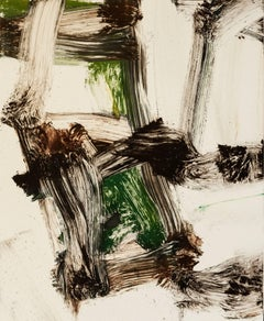 """July Series #19"", painterly abstract expressionist monoprint, green, umber."