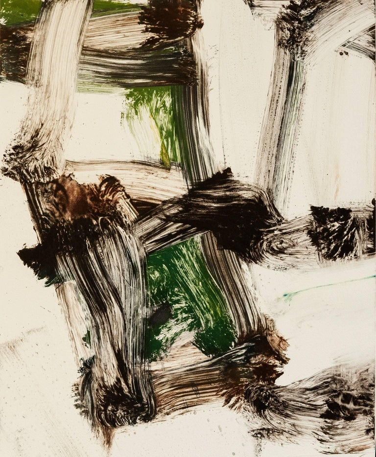 """Mark Saltz Abstract Print - """"July Series #19"""", painterly abstract expressionist monoprint, green, umber."""