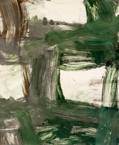 July Series #27, painterly abstract expressionist monoprint, green, gray, umber.