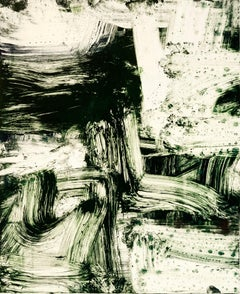 """July Series #31, Painterly abstract expressionist monoprint, deep green black."