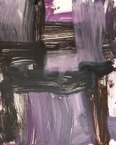 July Series #44, painterly, abstract expressionist monoprint burnt umber, violet