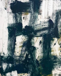 July Series #48, painterly, abstract expressionist monoprint, blue black, umber.
