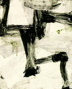 """July Series Seven"", painterly abstract print, gestural brushstroke, dark green"