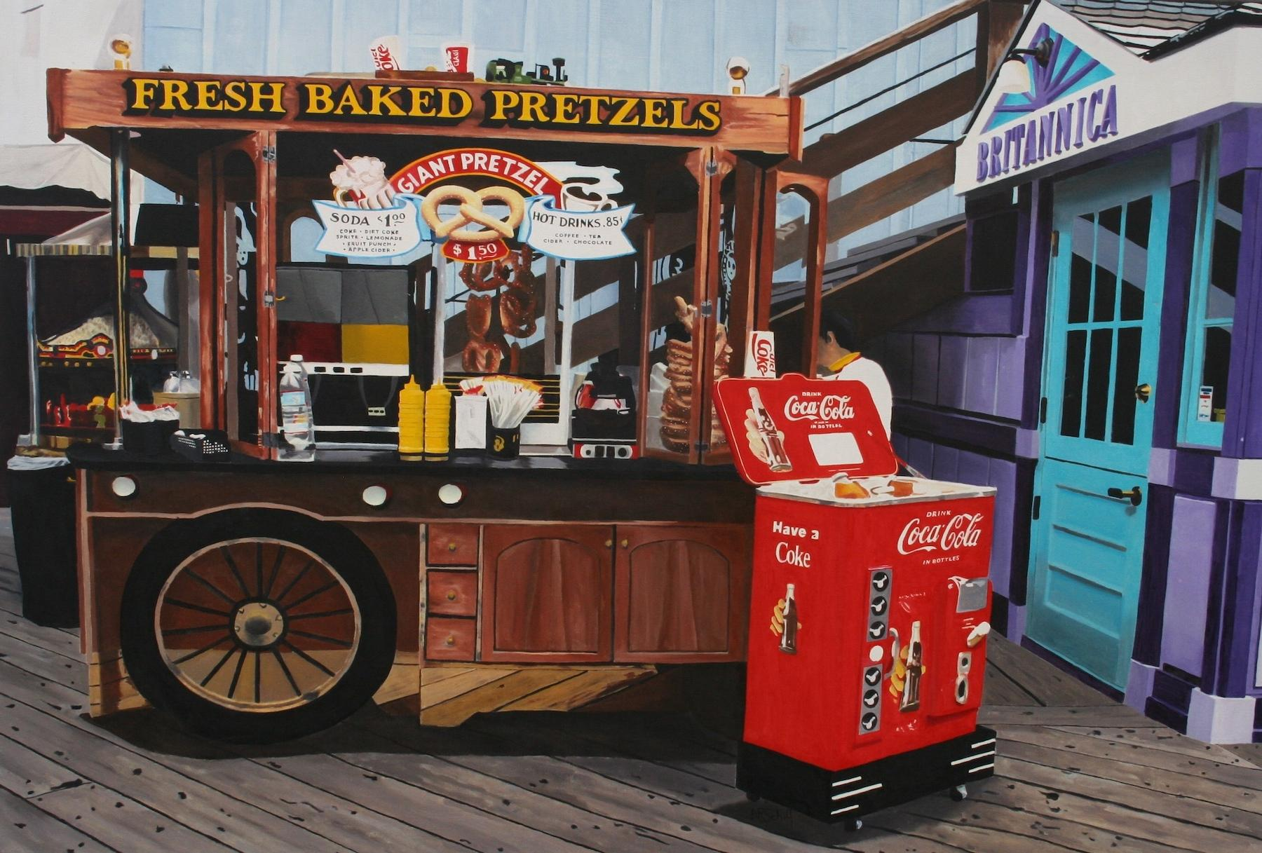Fresh Baked Pretzels on the Atlantic Boardwalk -- Original Oil Painting
