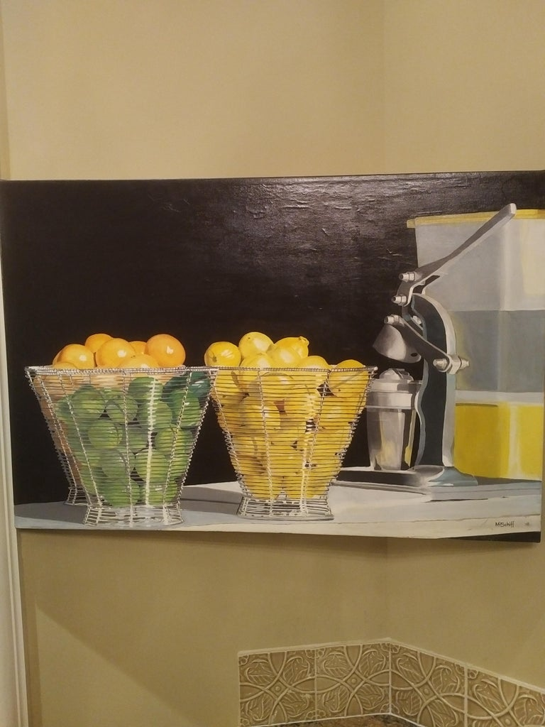 Sweet and Sour Original Oil Painting by Photorealist Mark Schiff For Sale 1