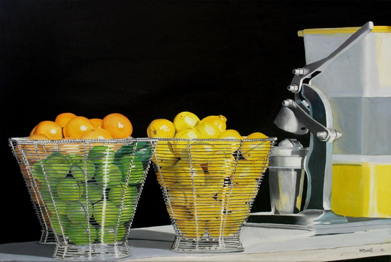 Sweet and Sour Original Oil Painting by Photorealist Mark Schiff - Black Still-Life Painting by Mark Schiff