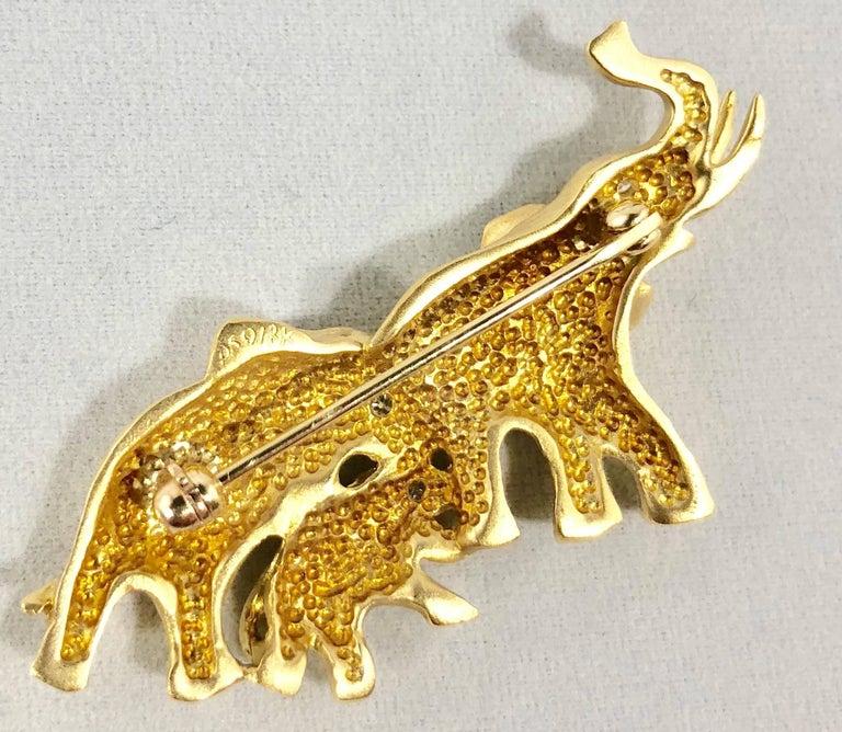 Women's or Men's Mark Schneider 18 Karat Gold and Diamond Modern Elephant Brooch For Sale