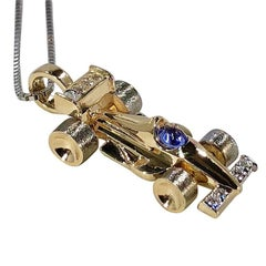 Mark Schneider Limited Creation 14 Karat Diamond and Tanzanite Indy Car Pendant