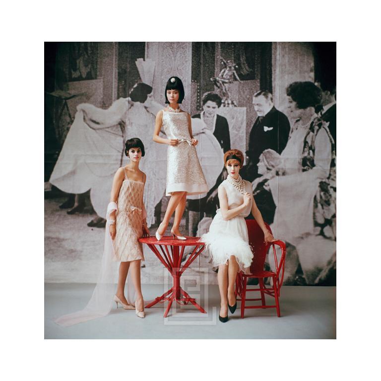 1920's Backdrop, Three White Cocktail Dresses, 1961 1