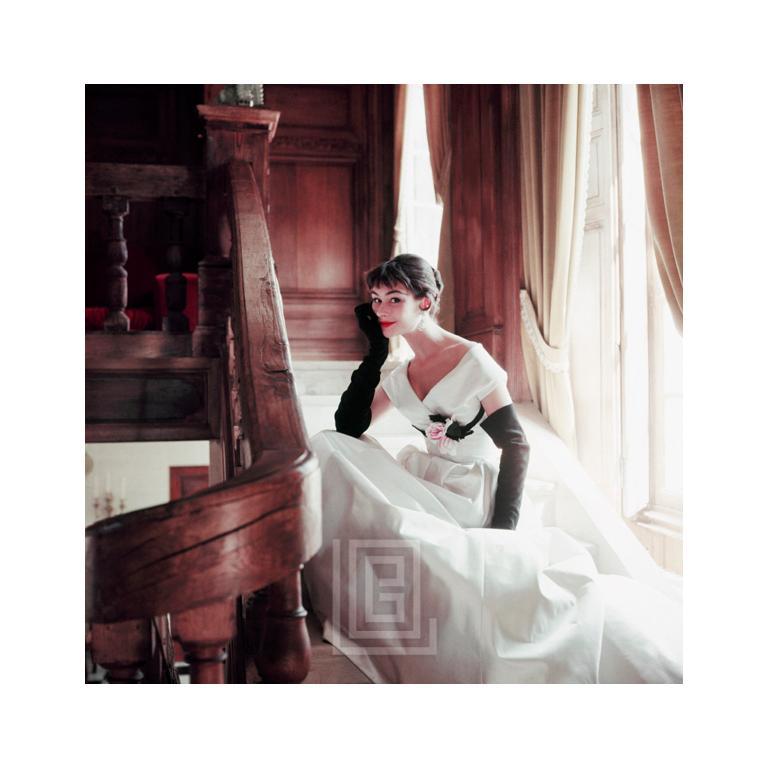Mark Shaw Color Photograph - Anne Gunning, Fath White Ball Gown with Black Gloves, Up Close1953