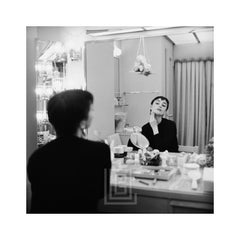 Audrey Hepburn Applies Makeup in Mirror, Backstage at Ondine, 1954