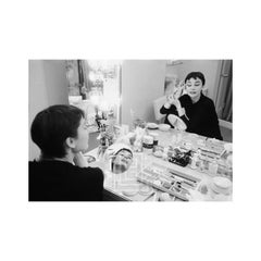 Audrey Hepburn Applies Makeup in Two Mirrors with Eyes Closed, Backstage at Ondi