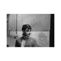 Audrey Hepburn in Grey Turtleneck Sweater, Head Left, Raised Eyebrows, 1953