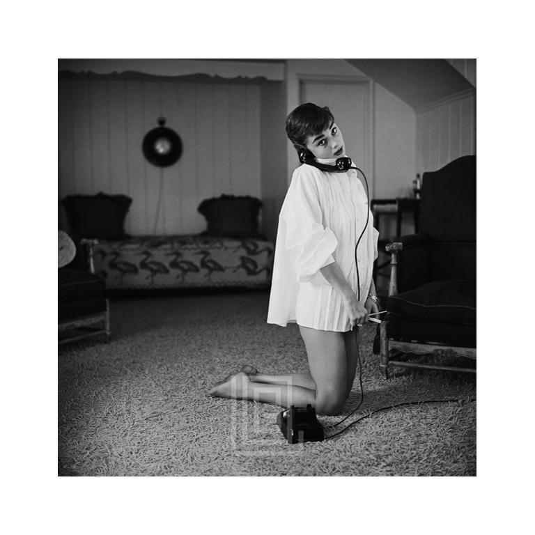 Audrey Hepburn in White Blouse with Phone, Kneeling, 1953 1
