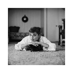 Audrey Hepburn in White Blouse with Phone, Laying, Chin Resting, 1953