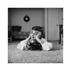 Audrey Hepburn in White Blouse with Phone, Laying, Hands on Face, 1953