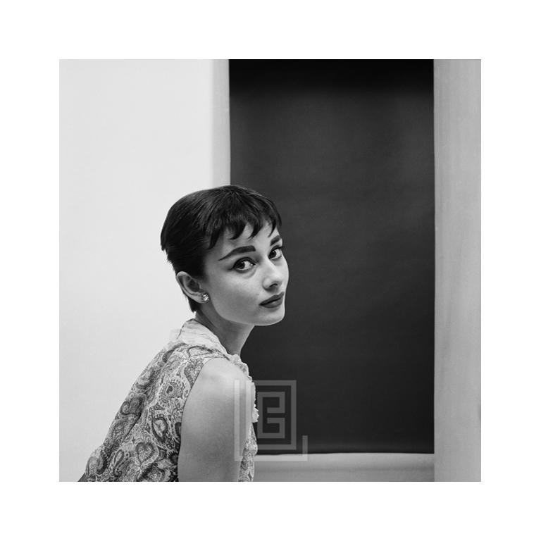 Mark Shaw Black and White Photograph - Audrey Hepburn Staring, Center Frame, 1954