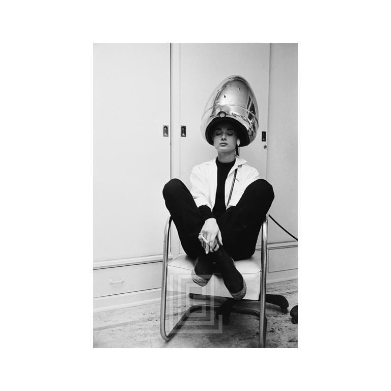 Audrey Hepburn Under The Dryer Holding Cigarette 1953