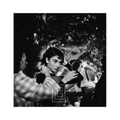 Audrey Hepburn Under Tree Touches Up Makeup, 1953