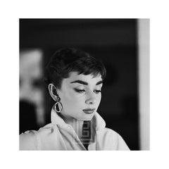 Audrey Hepburn White Shirt Portrait, Glances Down, 1954