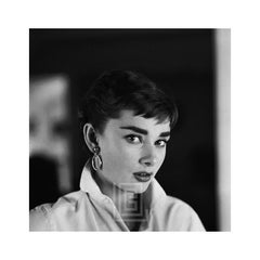 Audrey Hepburn White Shirt Portrait, Glances Right, 1954
