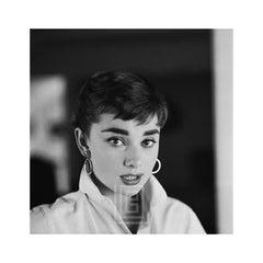 Audrey Hepburn White Shirt Portrait, Nods Lips Parted, 1954