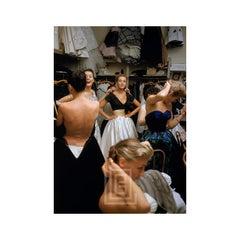 Backstage Balmain Black Top White Skirt, 1954