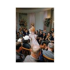 Balmain Salon, Back View of White Gown, 1954
