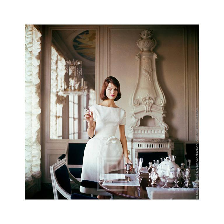 Designer's Homes, Model wears White Goma in Henry Samuel's Home, 1960