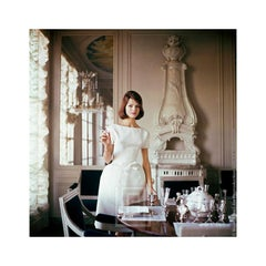 Designer's Homes, Model wears White Goma in Henry Samuel's Home, 1960