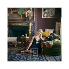 Designers' Homes, Nico Sitting with Dachshunds Wears Dior, 1960