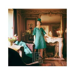 Designer's Homes, Teal Dior Gown in Gold Room, 1960