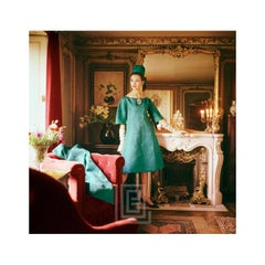 Designer's Homes, Teal Dior Gown in Gold Room, Red Furniture, 1960