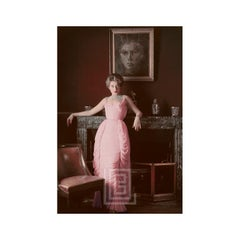Designer's Homes, Viky Reynaud Wearing Desses Pink Gown with Portrait, 1953