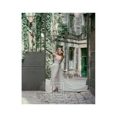 Dior Gray Chiffon in Courtyard, 1955
