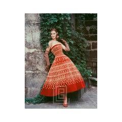 Dior Lavish Gold on Red Velvet in Courtyard, 1955