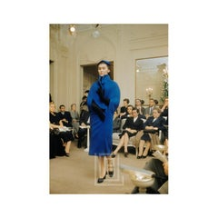Dior, model wearing Enigme Blue Coat, 1954